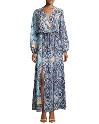 Fraiche By J Printed Surplice Front Slit Maxi Dress Nova Navy