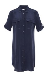 Equipment Silk Signature Shirt Dress Navy