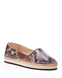 Kenneth Cole Cara Snake Embossed Espadrille Flats Grey Blue Brown