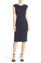 Eliza J Women's Cap Sleeve Crepe Sheath Dress Navy