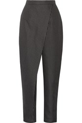Paper London Angel Pinstriped Twill Tapered Pants Black