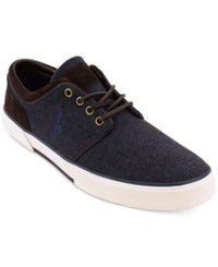 Polo Ralph Lauren Men's Faxon Flannel Suede Sneakers Men's Shoes Navy