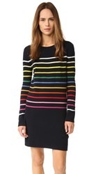Goen.J Knit Rainbow Stripe Dress Navy