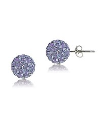 Lord And Taylor Sterling Silver Fireball Stud Earrings Violet