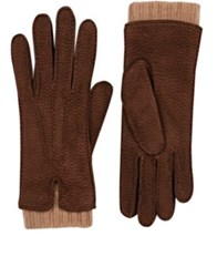 Barneys New York Women's Extended Cuff Leather Gloves Brown