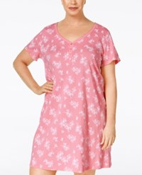Charter Club Plus Size Henley Sleepshirt Only At Macy's Coral Toile