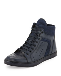 Kenneth Cole Big Brand Leather High Top Sneaker Navy