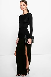 Petite Amy Long Sleeve Double Split Maxi Dress