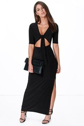 Boohoo Short Sleeve Tie Front Cut Out Maxi Dress Black