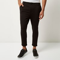 Only And Sons River Island Mens Black Pinstripe Slim Fit Trousers