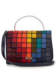 Anya Hindmarch Pixels Featherweight Bathurst Suede Satchel Blue Multi