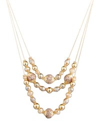 Fragments For Neiman Marcus Triple Row Beaded Crystal Necklace Gold