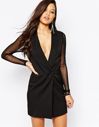 Missguided Tailored Blazer Dress With Mesh Arms And Back Black