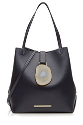 Roland Mouret Leather Tote With Geode Closure Blue