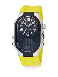 Philip Stein Teslar Signature Stainless Steel Dual Time Rubber Strap Watch