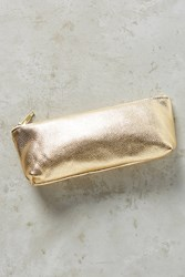 Anthropologie Jeweltoned Leather Pencil Pouch Gold