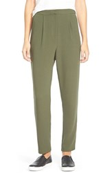 Junior Women's Lily White High Rise Trousers Army Green