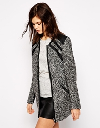 Y.A.S Trina Coat In Salt And Pepper Fabric Greymelange