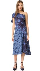 Zac Posen One Shoulder Dress Blue Multi
