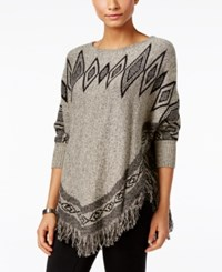 Styleandco. Style Co. Patterned Fringe Poncho Sweater Only At Macy's Stonewall Black