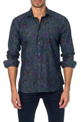 Jared Lang Long Sleeve Floral Print Semi Fitted Shirt Blue