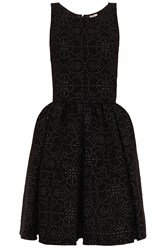 Alaia Floral Shine Party Dress Black