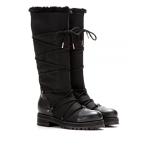 Jimmy Choo Drexel Leather And Canvas Fur Lined Boots Black