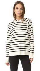 Chinti And Parker Striped Hoodie Cream Navy
