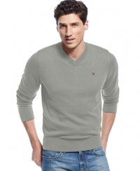 Tommy Hilfiger Men's Big And Tall Signature Solid V Neck Sweater Griffin Heather