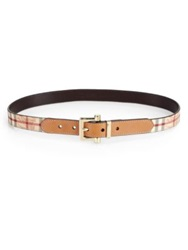 Burberry Leather And Check Belt Tan Multi