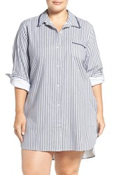 Dkny Plus Size Women's Long Sleeve Flannel Sleep Shirt Winter White Stripe