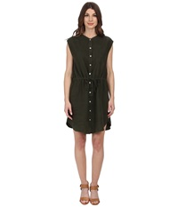 Allen Allen Sleeveless Shirt Dress Olive Women's Dress