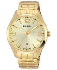 Pulsar Men's Traditional Gold Tone Stainless Steel Expansion Bracelet Watch 41Mm Ps9488