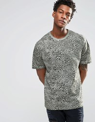 Asos Oversized T Shirt With Oil Washed Snake Animal Print Washed Green