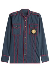 Balmain Cotton Shirt With Embossed Buttons Blue