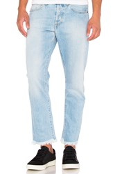Off White Slim Fit Crop Denim Bleach Light Blue