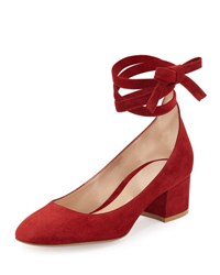 Gianvito Rossi Petra Suede Ankle Wrap 45Mm Pump Bisque