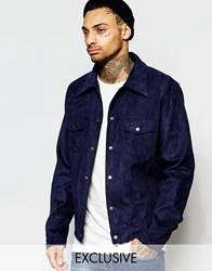 Liquor And Poker Faux Suede Western Jacket In Navy Navy