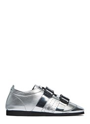 J.W.Anderson Metallic Multi Buckle Leather Sneakers Silver