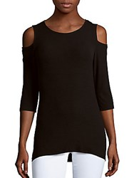 Red Haute Ribbed Cold Shoulder Top Black