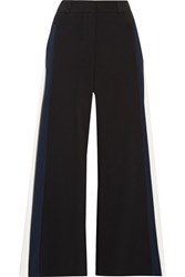 Peter Pilotto Cropped Striped Cady Wide Leg Pants Black