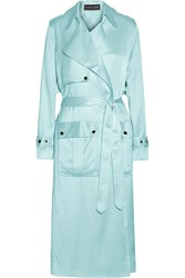 Michael Lo Sordo Washed Silk Satin Trench Coat Blue