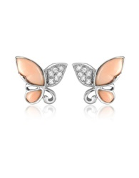 Del Gatto Diamond Gemstone Butterfly 18K Gold Earrings Pink Coral