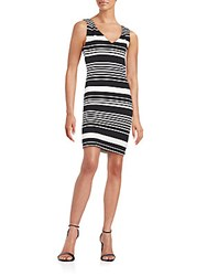 Saks Fifth Avenue Red Striped Ponte Knit Sheath Dress Black White