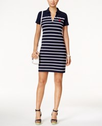 Tommy Hilfiger Marcie Striped Polo Dress Navy White