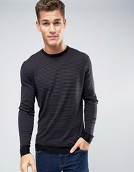 Jack And Jones Premium Jumper In Stripe Black Grey White