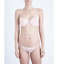 Free People Fancy Back Stretch Lace And Mesh Underwired Bra Lilac