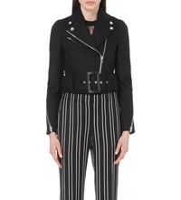 Givenchy Belted Wool Blend Biker Jacket Black