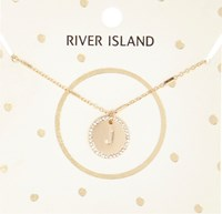 River Island Womens Gold Tone J Initial Necklace