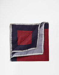 Noose And Monkey Italian Silk Pocket Square In Houndstooth Blue
